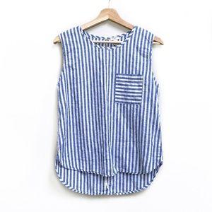 J. Crew Linen/Cotton Blue + White Striped Tank Top
